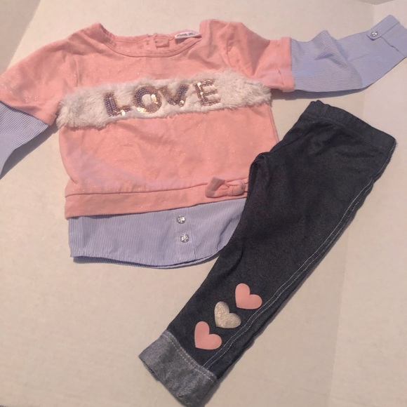 Little Lass Pink and Blue Toddler Outfit Sz 3T